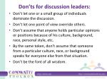 don ts for discussion leaders