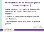 the elements of an effective group discussion cont
