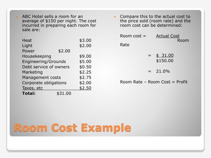 ABC Hotel sells a room for an average of $150 per night. The cost incurred in preparing each room for sale are: