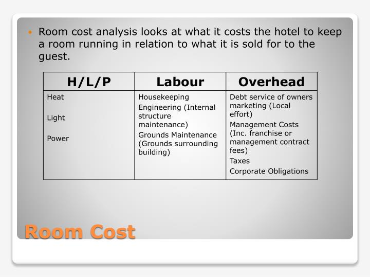 Room cost analysis looks at what it costs the hotel to keep a room running in relation to what it is sold for to the guest.
