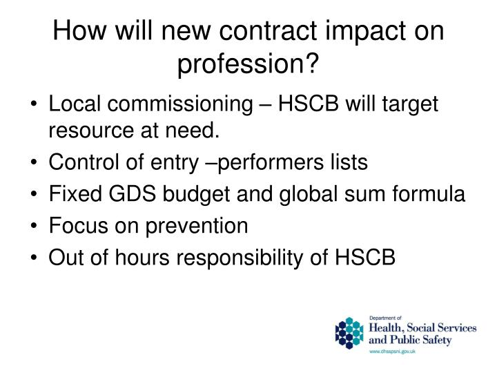 How will new contract impact on profession?