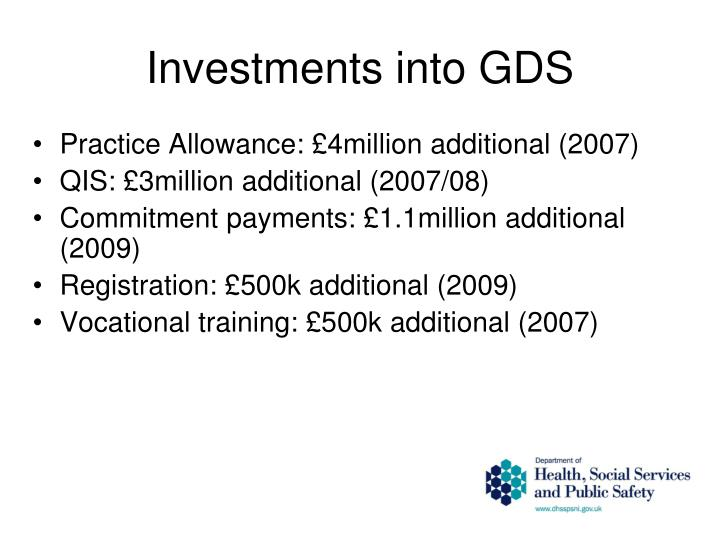 Investments into GDS