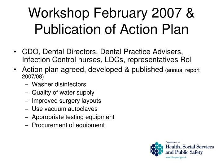Workshop February 2007 & Publication of Action Plan