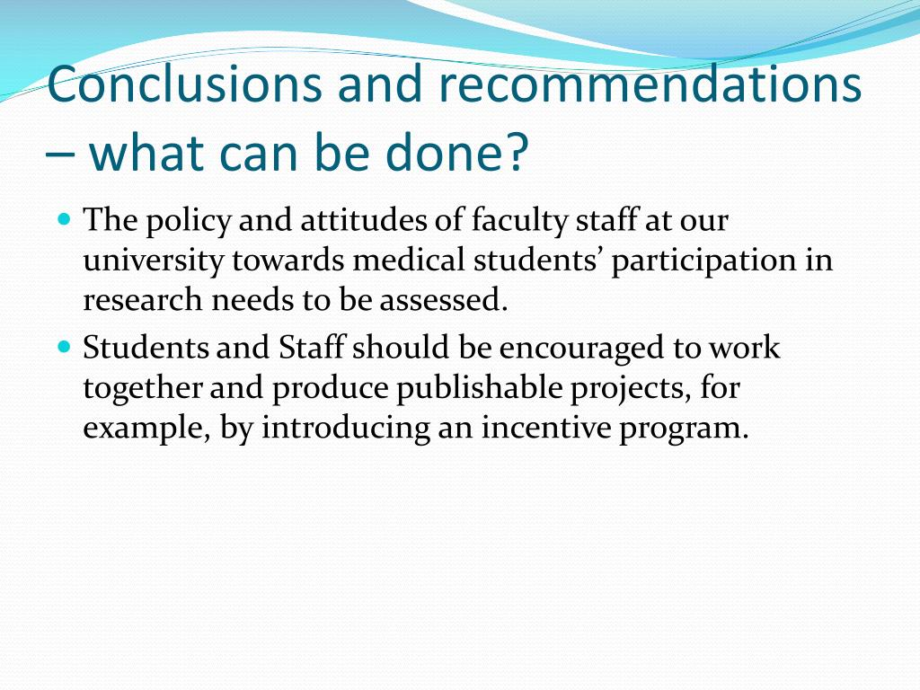 Conclusions and recommendations – what can be done?