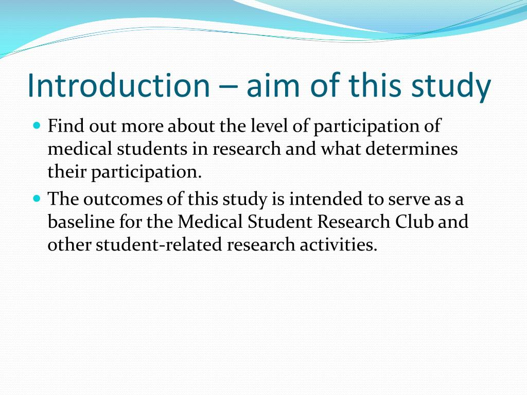 Introduction – aim of this study