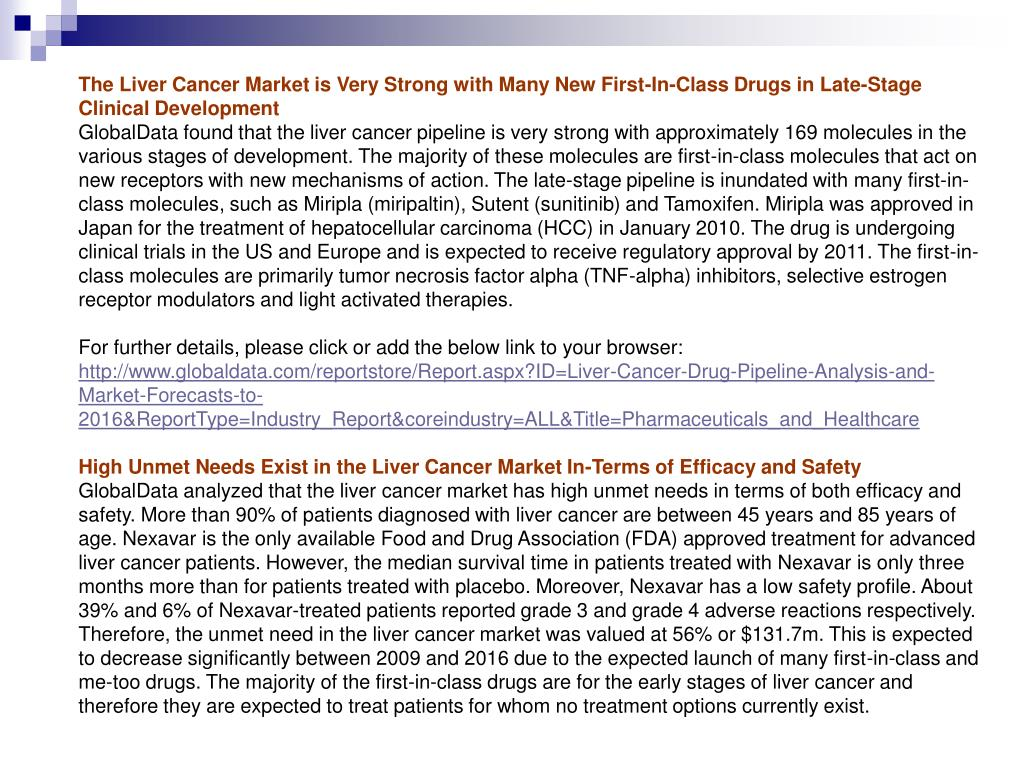 The Liver Cancer Market is Very Strong with Many New First-In-Class Drugs in Late-Stage Clinical Development