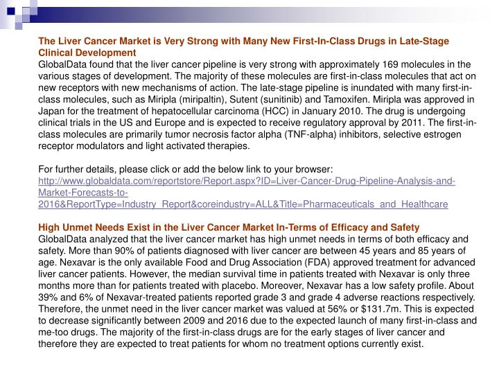 The Liver Cancer Market is Very Strong with Many New First-In-Class Drugs in Late-Stage Clinical Dev...