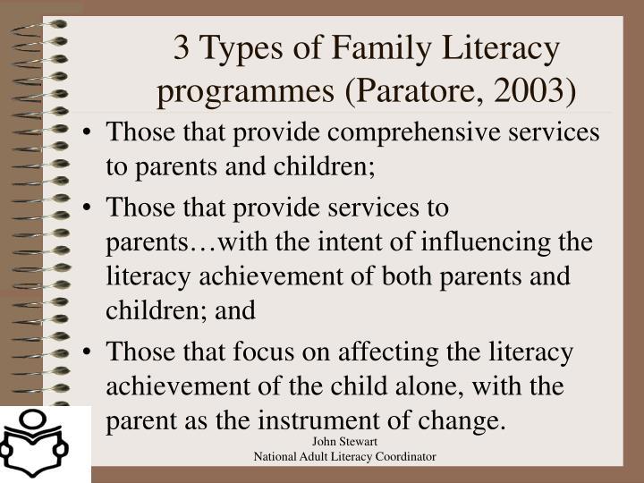 3 Types of Family Literacy programmes (Paratore, 2003)