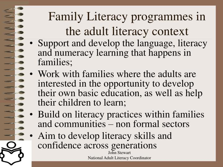 Family Literacy programmes in the adult literacy context