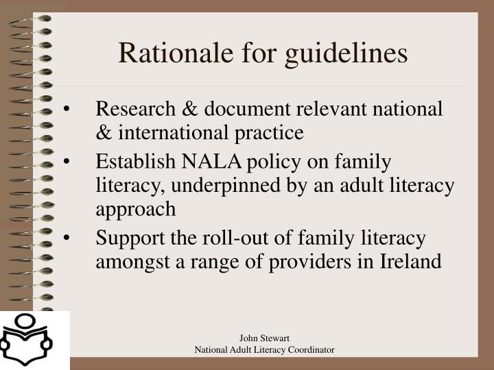 Rationale for guidelines