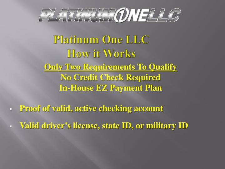 Platinum one llc how it work s