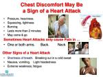 chest discomfort may be a sign of a heart attack