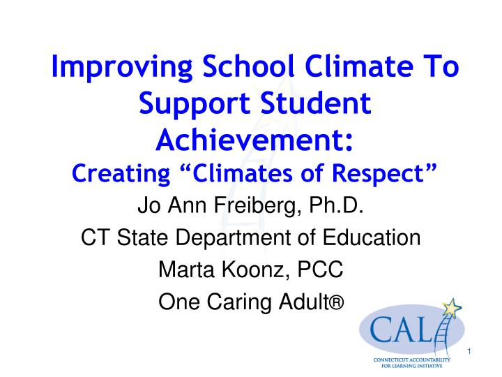 improving school climate to support student achievement creating climates of respect n.