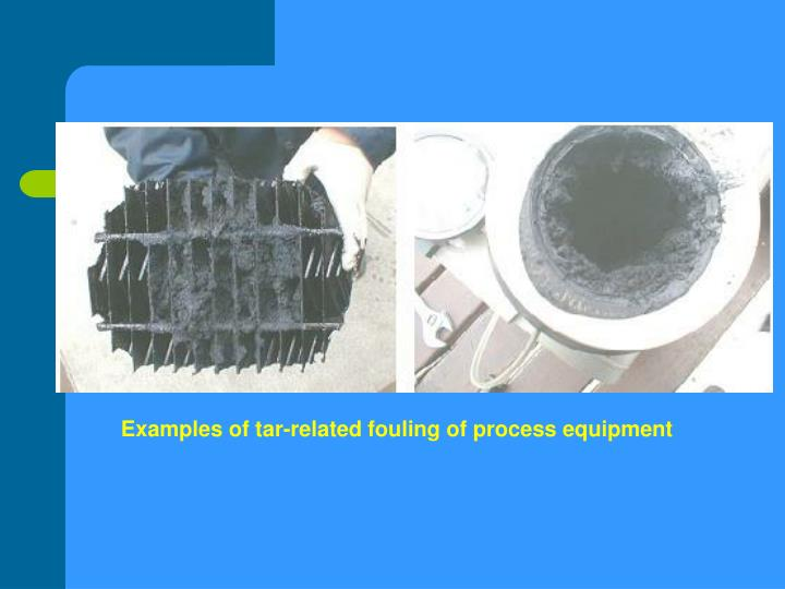 Examples of tar-related fouling of process equipment