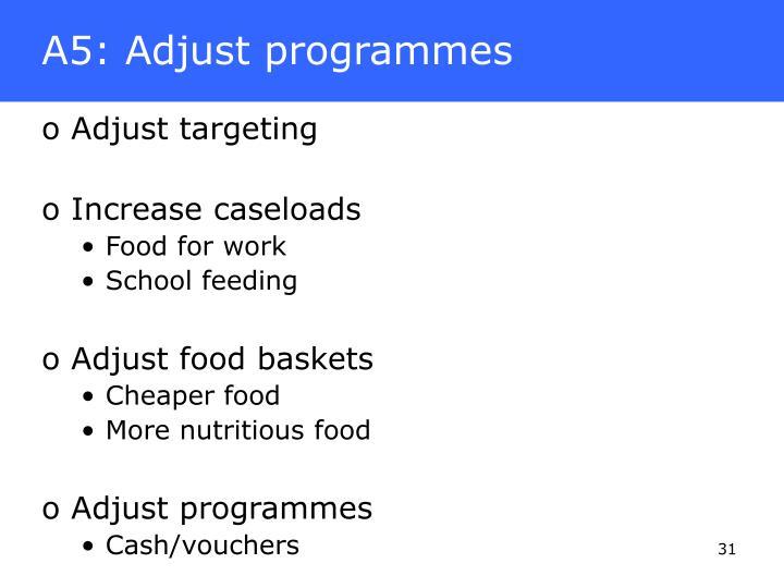 A5: Adjust programmes