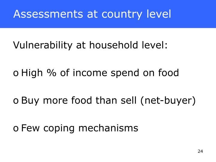 Assessments at country level