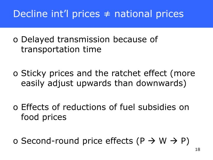 Decline int'l prices ≠ national prices