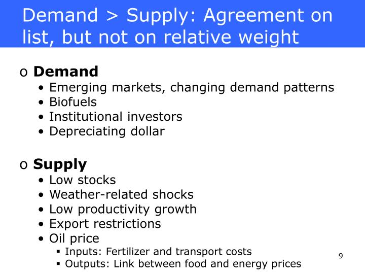 Demand > Supply: Agreement on list, but not on relative weight