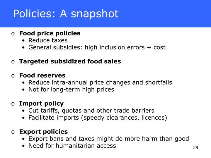 Policies: A snapshot