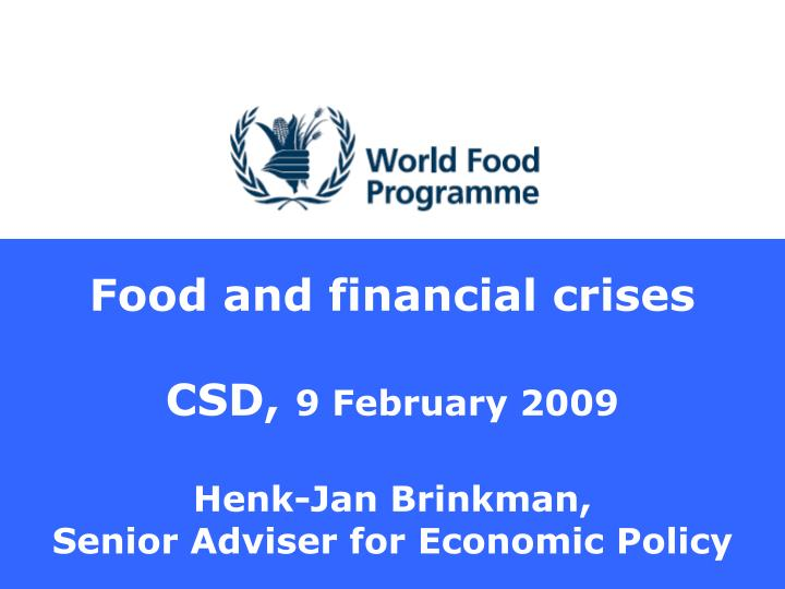 Food and financial crises