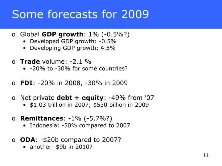 Some forecasts for 2009