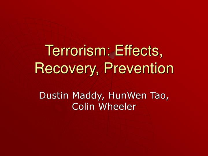 terrorism effects recovery prevention n.