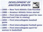 development of amateur sports