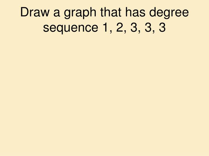 Draw a graph that has degree sequence 1, 2, 3, 3, 3