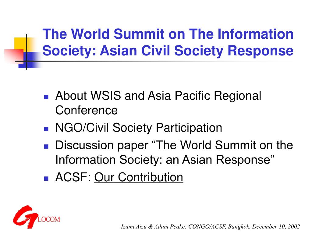 the world summit on the information society asian civil society response l.