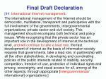 final draft declaration