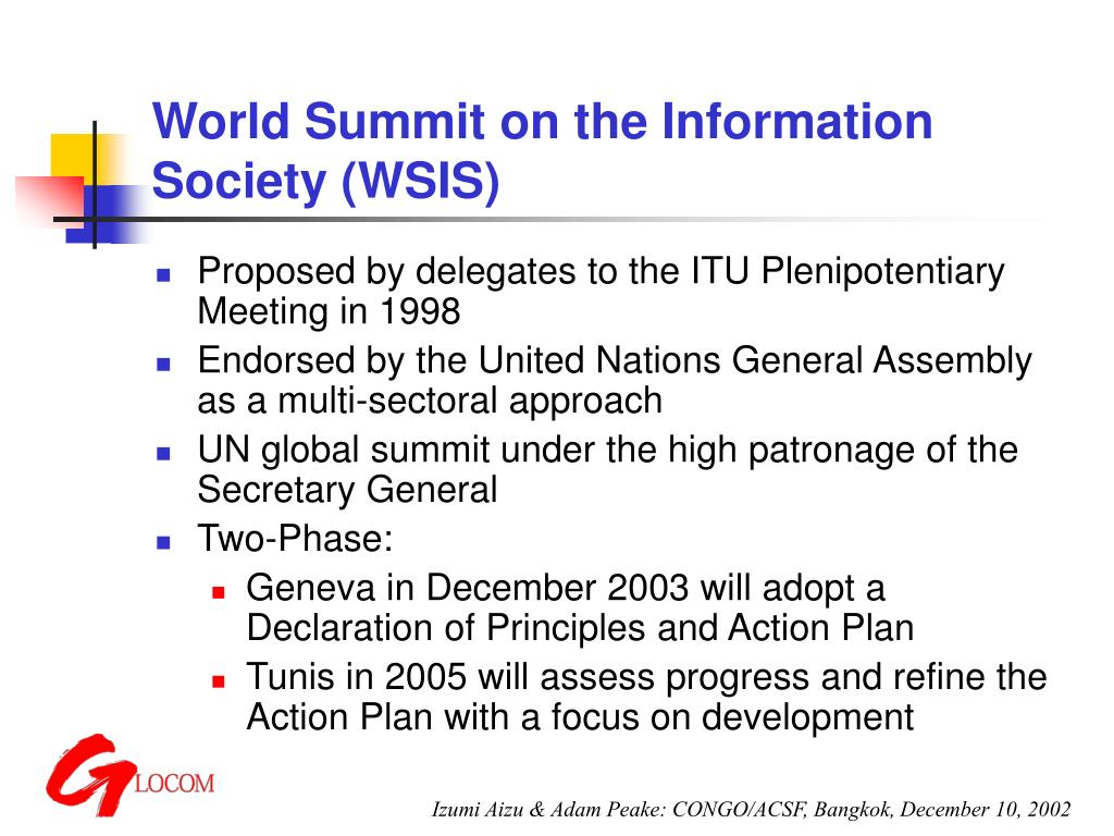 world summit on the information society wsis l.