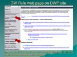 gw rule web page on dwp site