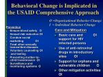 behavioral change is implicated in the usaid comprehensive approach