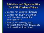 initiatives and opportunities for sph kinshasa tulane