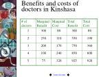 benefits and costs of doctors in kinshasa