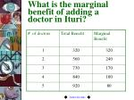 what is the marginal benefit of adding a doctor in ituri