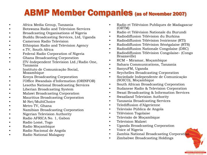 Abmp member companies as of november 2007