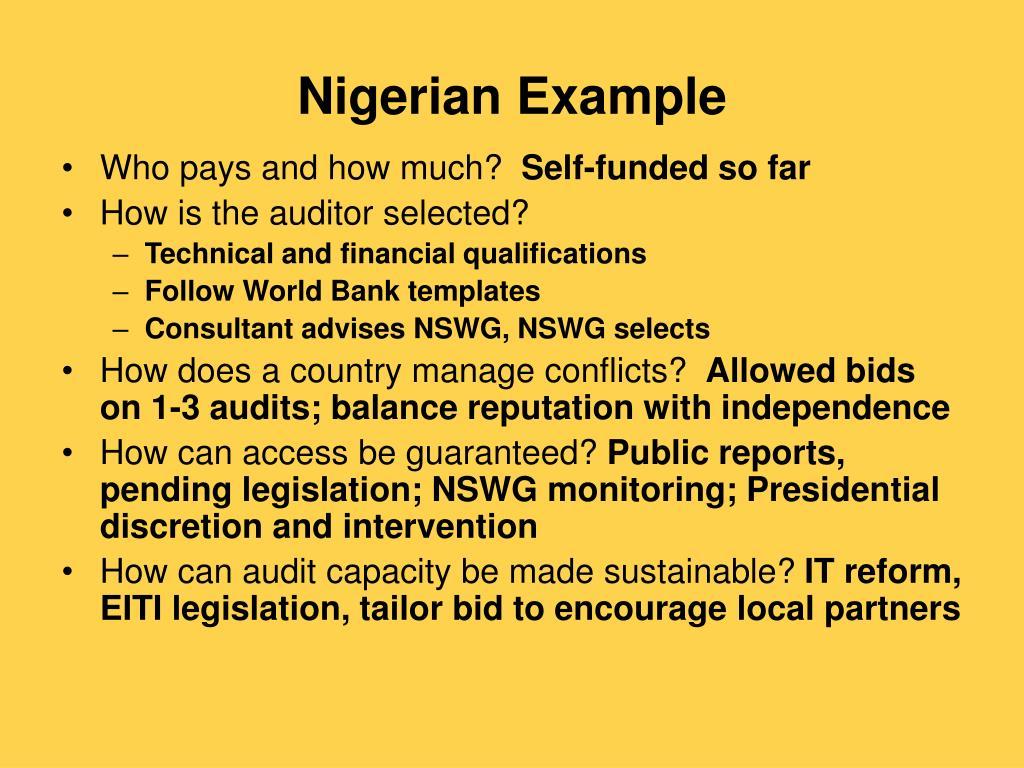Nigerian Example