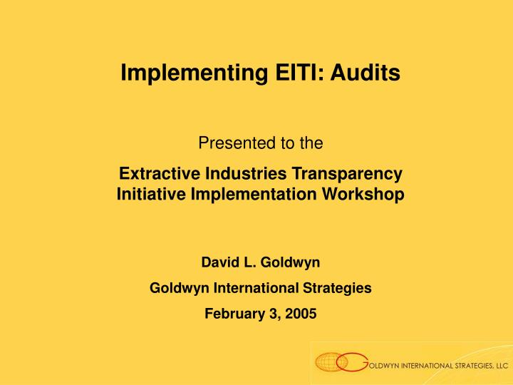 Implementing EITI: Audits