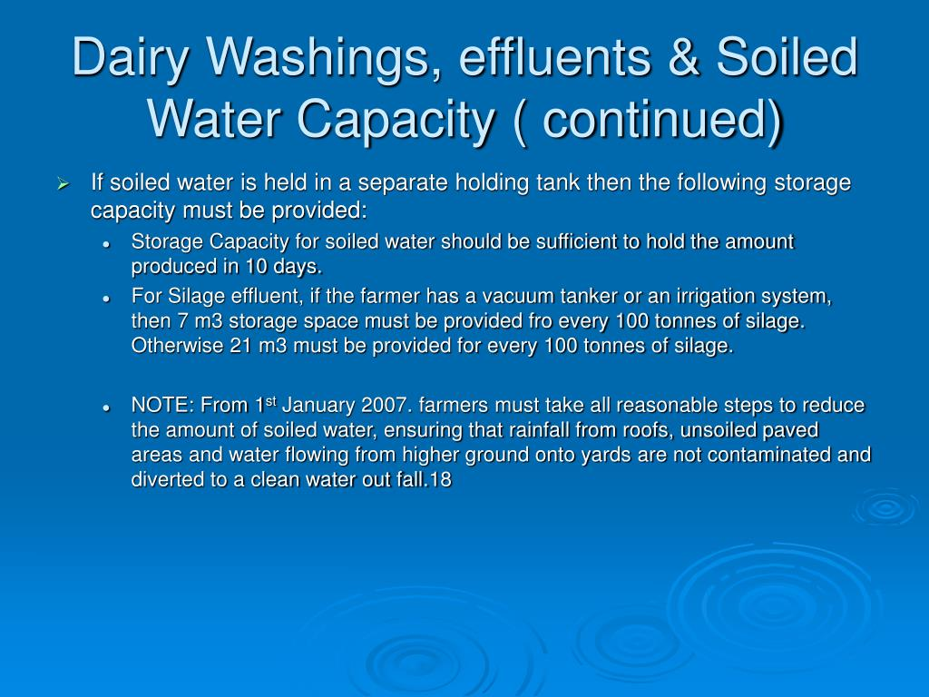 Dairy Washings, effluents & Soiled Water Capacity ( continued)