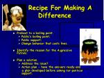 recipe for making a difference