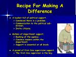 recipe for making a difference1