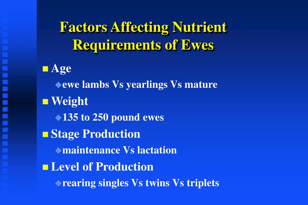 Factors Affecting Nutrient Requirements of Ewes