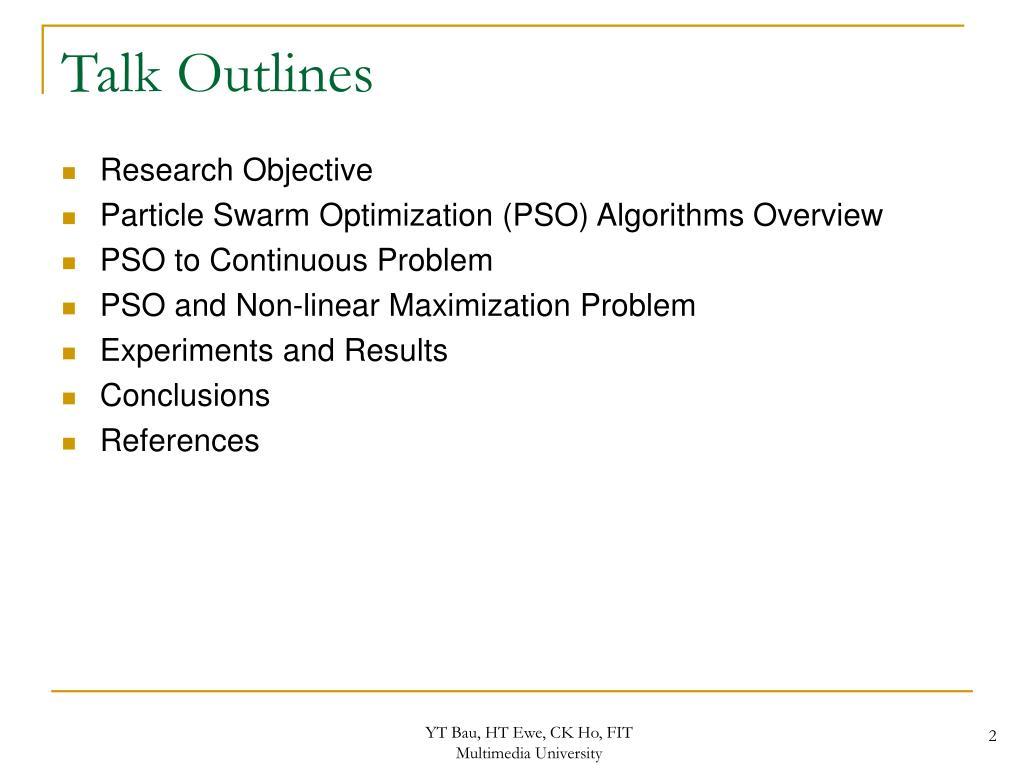 Talk Outlines