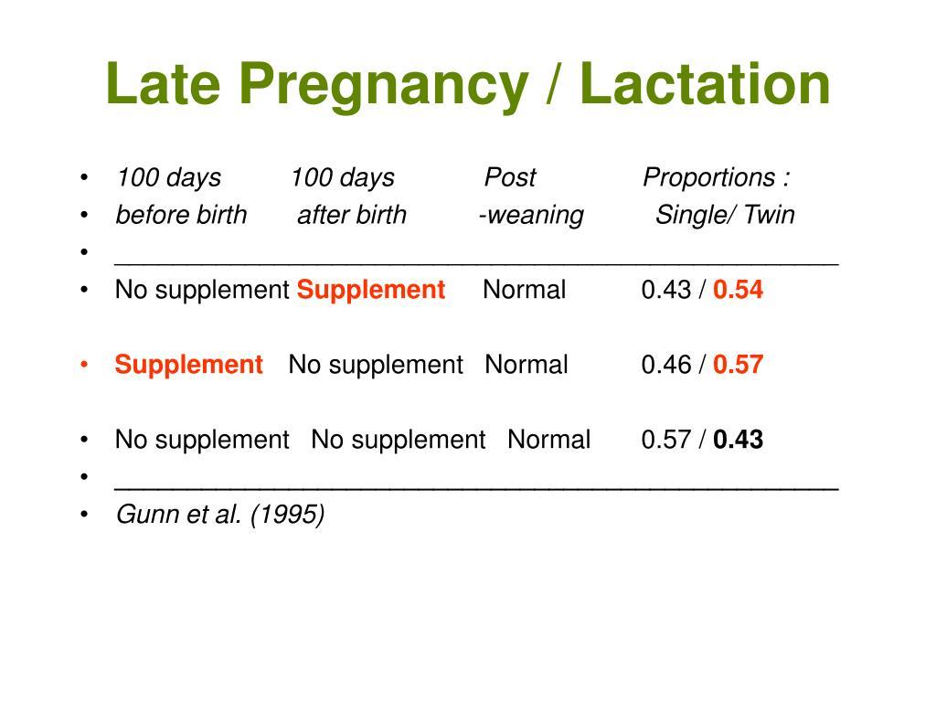 Late Pregnancy / Lactation