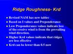 ridge roughness krd