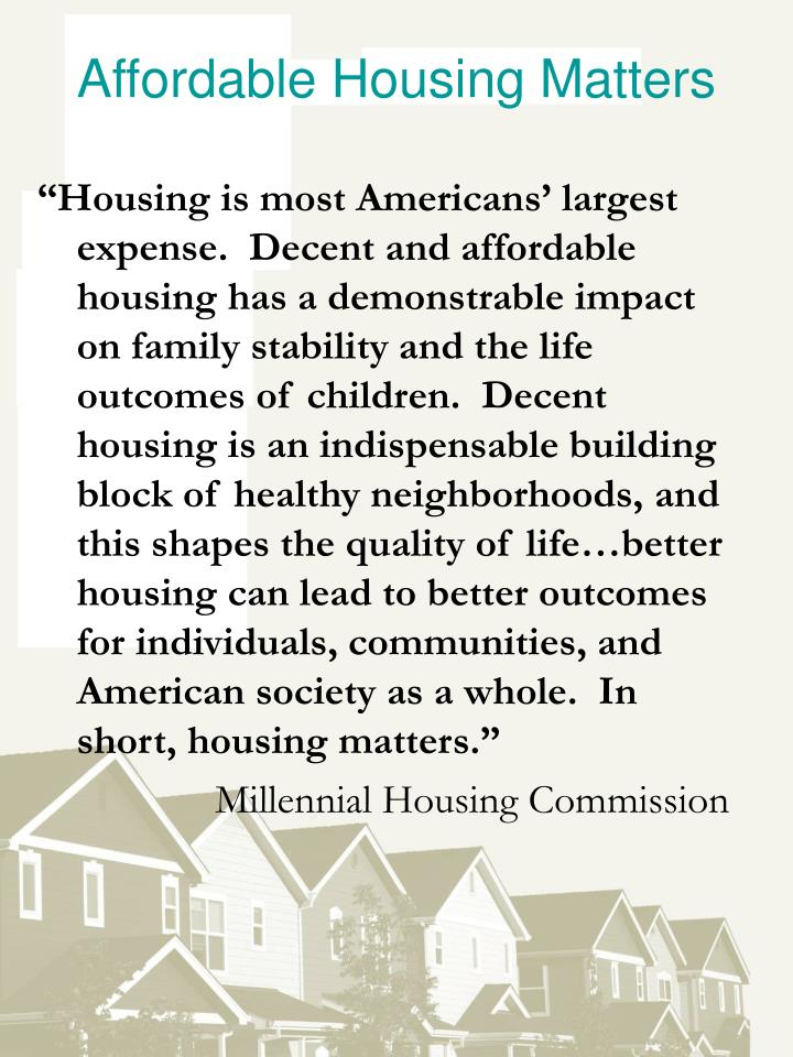 Affordable Housing Matters