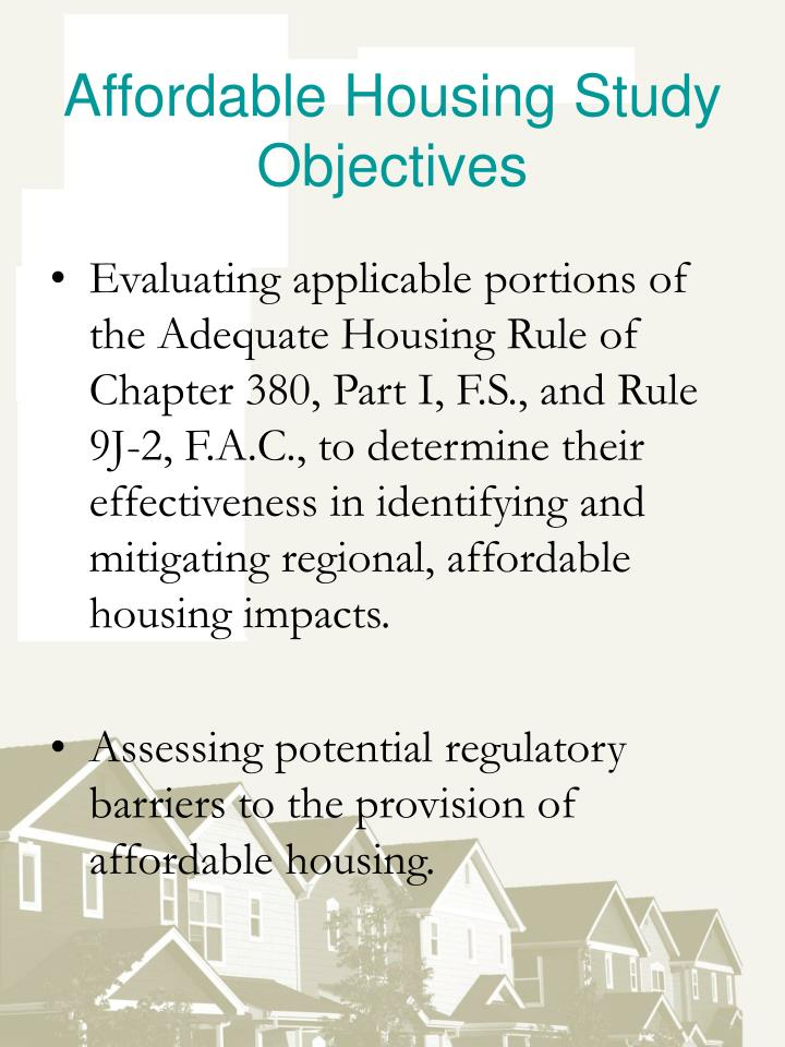Affordable Housing Study Objectives