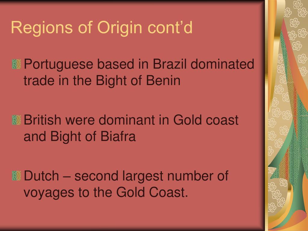Regions of Origin cont'd