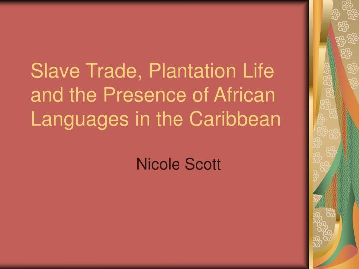Slave trade plantation life and the presence of african languages in the caribbean